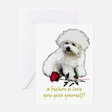 Bichon Frise Valentine Rose Greeting Cards (Packag