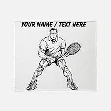 Custom Muscular Tennis Player Throw Blanket