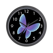 Blue/Purple Butterfly Wall Clock