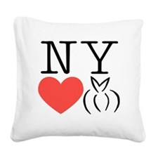 New York heart bunny Square Canvas Pillow