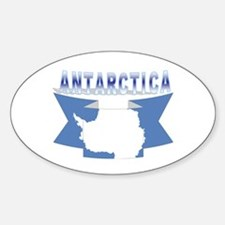 Antarctic flag ribbon Oval Decal