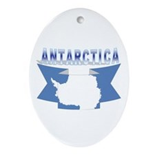 Antarctic flag ribbon Oval Ornament