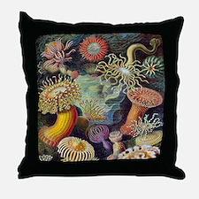 Vintage Sea Anemones Throw Pillow