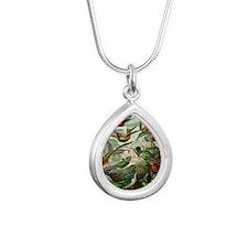 Vintage Hummingbirds Silver Teardrop Necklace