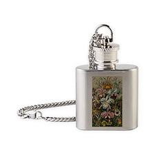 Vintage Orchids Flask Necklace