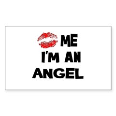 Kiss Me I'm An Angel Rectangle Decal
