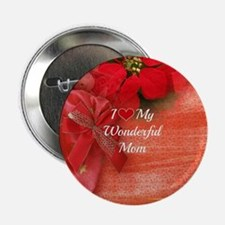"""Christmas Red Design: I Love My Wonde 2.25"""" Button"""