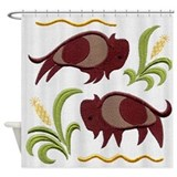 2 buffalo queen bed set Shower Curtains