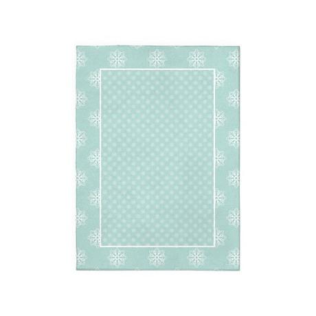 Light Teal | White Snowflakes 5'x7'Area Rug