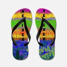 WATERCOLOR RETIRED TEACHER FF Flip Flops