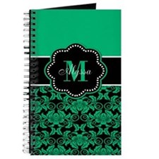 Teal Damask Personalized Journal