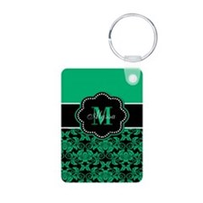 Teal Damask Personalized Keychains