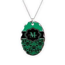 Teal Damask Personalized Necklace