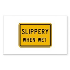 Slippery When Wet - USA Rectangle Decal