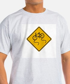 Bicycle Slippery When Wet - USA Ash Grey T-Shirt