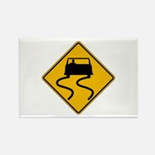Car Slippery When Wet - USA Rectangle Magnet