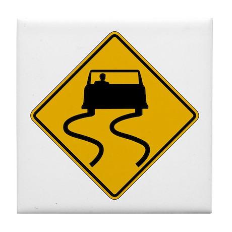 Car Slippery When Wet - USA Tile Coaster