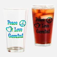 Peace Love Gemini Drinking Glass