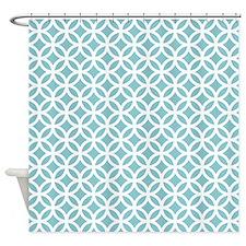Teal Interlocking Circle Pattern Shower Curtain