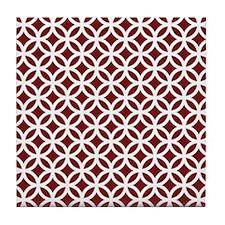Burgundy Interlocking Circle Pattern Tile Coaster