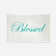 Aqua Blessed Rectangle Magnet