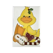 christmas duck with cookies Rectangle Magnet