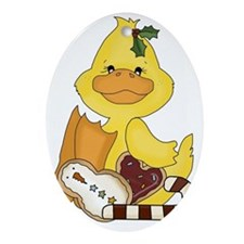 christmas duck with cookies Oval Ornament
