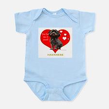 Havanese Valentine Woof Ebony Infant Bodysuit