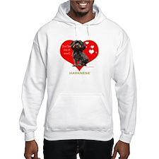 Havanese Valentine Woof Ebony Hoodie