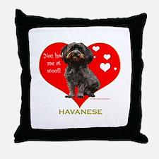 Havanese Valentine Woof Ebony Throw Pillow
