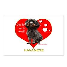 Havanese Valentine Woof Ebony Postcards (Package o