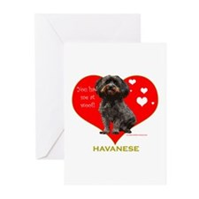 Havanese Valentine Woof Ebony Greeting Cards (Pack