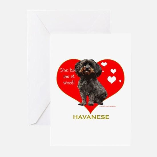 Havanese Valentine Woof Ebony Greeting Cards (Pack
