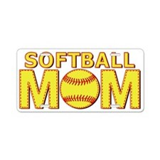 Softball Mom Yellow and Red Lace Aluminum License