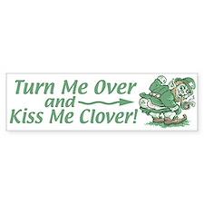 Kiss Me Clover Leprechaun Bumper Car Sticker
