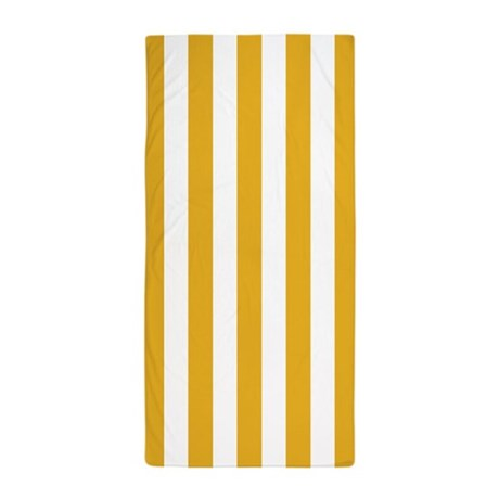 Dark Yellow and White Vertical Striped Beach Towel
