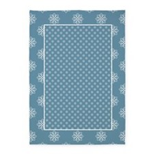 Sky Blue | White Snowflakes 5'x7'Area Rug