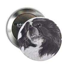 "Unique White pekingese 2.25"" Button (10 pack)"