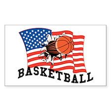 American Basketball Rectangle Decal