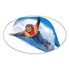 Snow Boarding Oval Decal