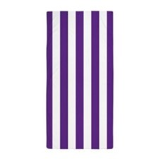 Purple and White Vertical Striped Beach Towel