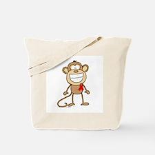 Red Ribbon Monkey Tote Bag