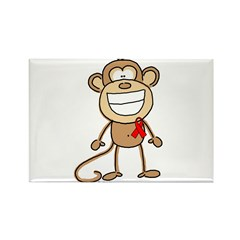 Red Ribbon Monkey Rectangle Magnet (10 pack)