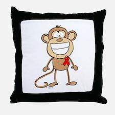 Red Ribbon Monkey Throw Pillow