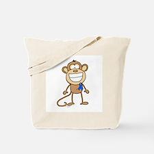 Blue Ribbon Monkey Tote Bag