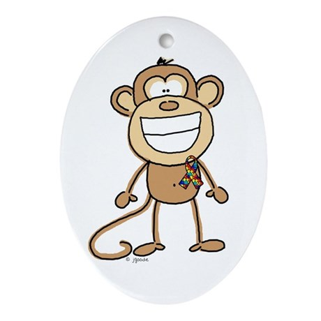 Autism Monkey Oval Ornament