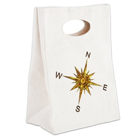 Gold Compass Points Canvas Lunch Tote