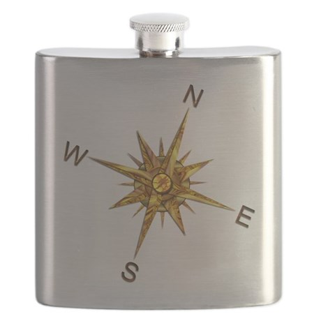 Gold Compass Points Flask