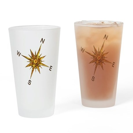 Gold Compass Points Drinking Glass