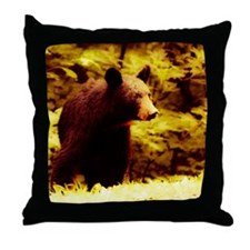 Black Bear in Fall Color Throw Pillow